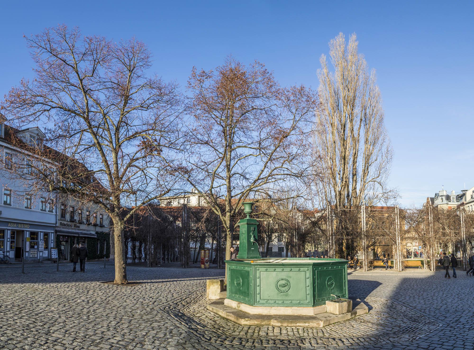 Berühmter Goethe-Brunnen am Frauenplan in Weimar, Deutschland. Goethe verwendete diesen Brunnen, da sein Haus am Frauenplan Quadrat steht— Foto von Hackman